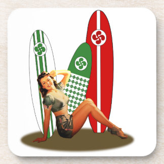 Pin-up girl Basque France Drink Coaster