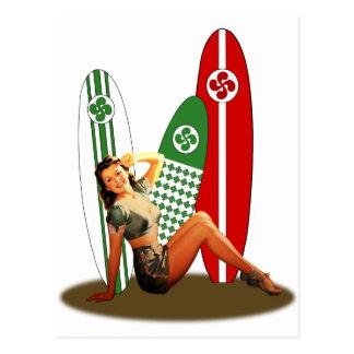 Pin-up girl Basque France Postcard
