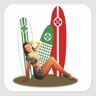 Pin-up girl Basque France Square Sticker