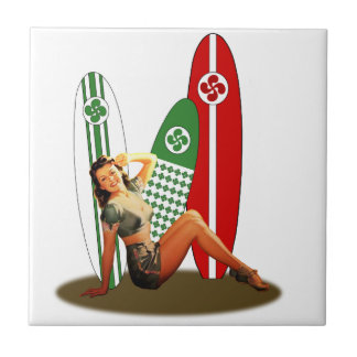 Pin-up girl Basque France Small Square Tile