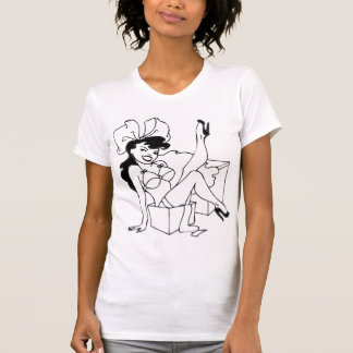 Pin Up Girl Black Hair T Shirt