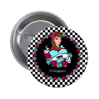 Pin-up Girl Button