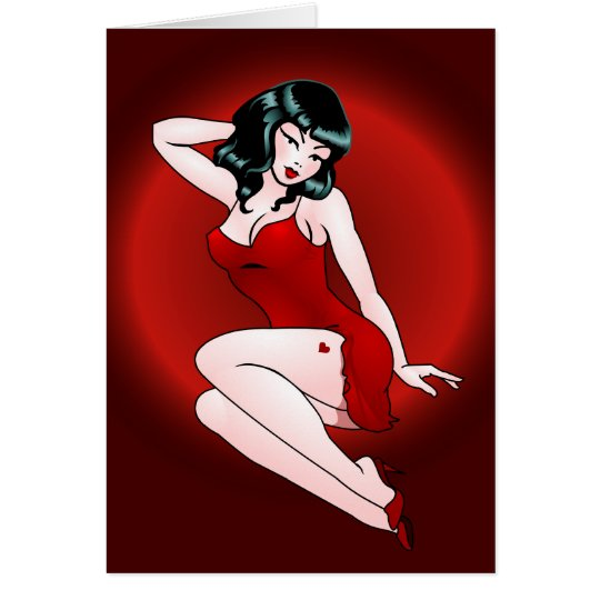 Pin Up Girl Card Personalized Retro Tattoo Cards