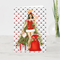 Pin Up Girl Christmas Card