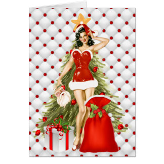 a pin up christmas greeting cards zazzle