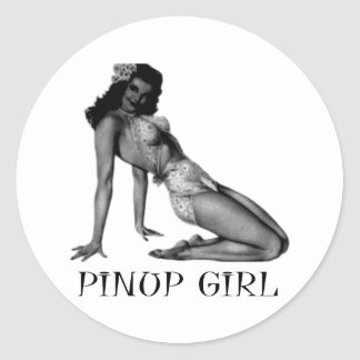 Pin UP Girl Cool Design! Classic Round Sticker