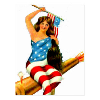 Pin Up Girl in Flag July 4th Vintage Postcard Art Post Card
