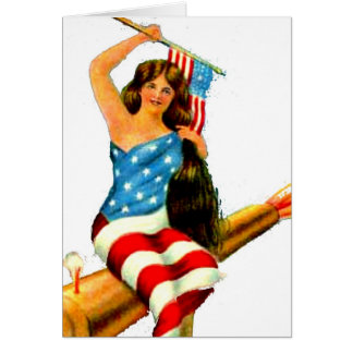 Pin Up Girl in Flag July 4th Vintage Postcard Art Cards