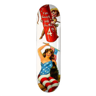 Pin Up Girl in Flag July 4th Vintage Postcard Art Skateboard