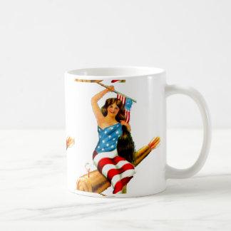 Pin Up Girl in Flag Lady July Vintage Postcard Art Coffee Mug