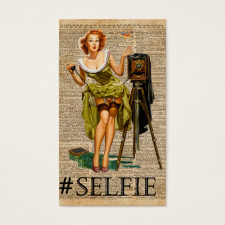 Pin Up Girl Making #selfie Vintage Dictionary Art Business Card