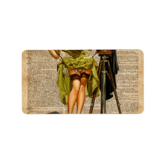 Pin Up Girl Making #selfie Vintage Dictionary Art Label