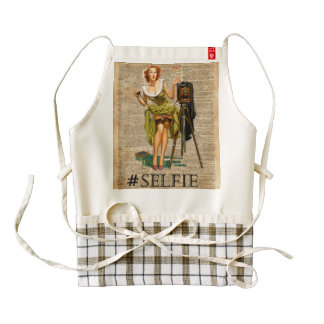 Pin Up Girl Making #selfie Vintage Dictionary Art Zazzle HEART Apron