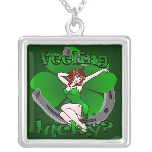 Pin Up Girl Necklace Lucky Charm Irish Redhead