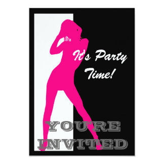 Pin up girl on black and white party 5x7 paper invitation card