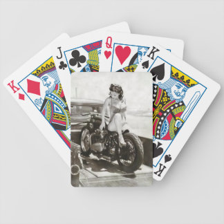 PIN UP GIRL ON MOTORCYCLE. BICYCLE PLAYING CARDS