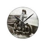 PIN UP GIRL ON MOTORCYCLE. WALL CLOCK