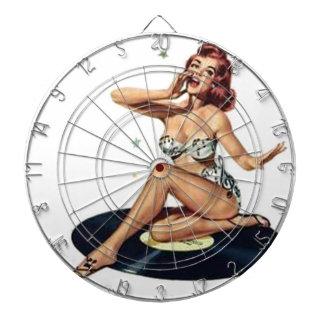 Pin Up Girl on Record Dart Board