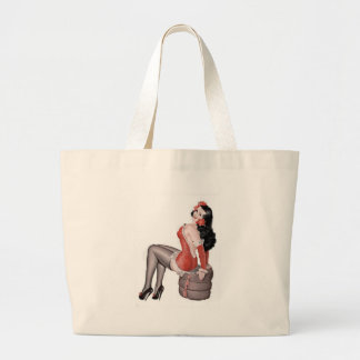 Pin Up Girl on Tires Canvas Bags