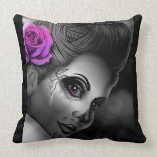 Pin up Girl Pink Rose Poster Throw Pillow