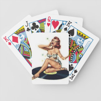 Pin Up Girl sitting on Record Bicycle Playing Cards