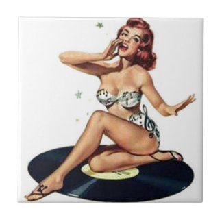 Pin Up Girl sitting on Record Tiles