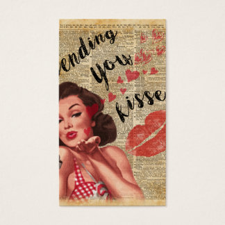 Pin-up Girl Vintage Art Sending Kisses With Love Business Card