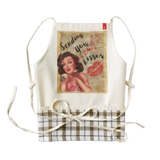 Pin-up Girl Vintage Art Sending Kisses With Love Zazzle HEART Apron