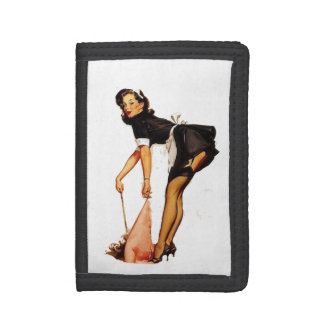 Pin Up Girl White and Black Trifold Wallets
