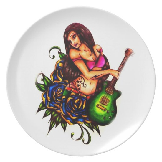 Pin up Girl with Guitar Melamine Plate