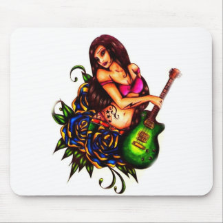 Pin up Girl with Guitar Mouse Pad