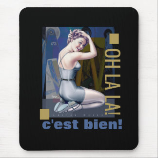 Pin-Up Girl with Industrial Background Mousepads