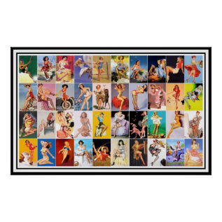 Pin Up Girls Art Vintage Retro Print Collage at Zazzle