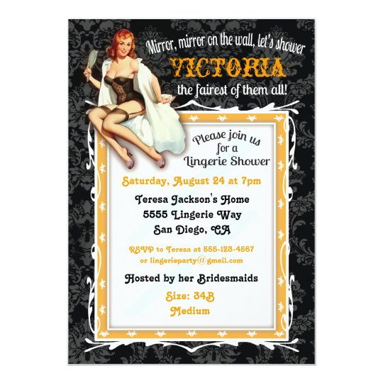 pin up lingerie bridal shower party invitation