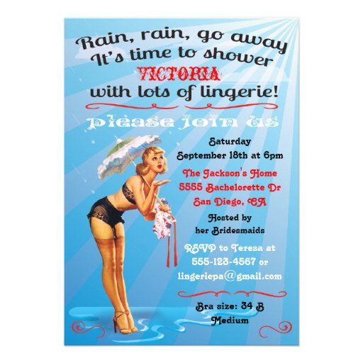 Pin up Lingerie shower party invitation