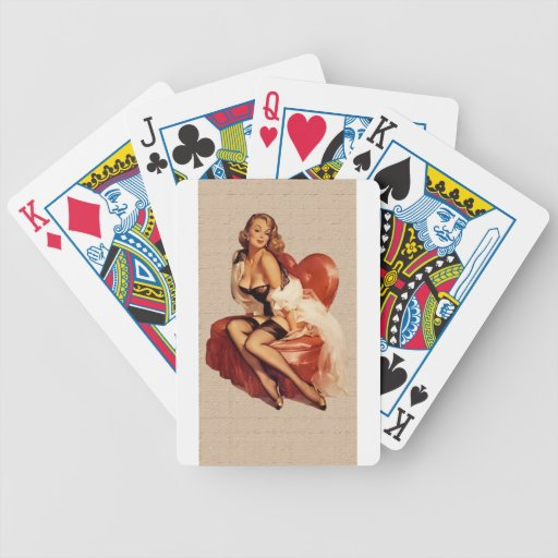 pin up nostalgic bicycle poker cards