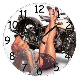 Pin Up Playful Biker Clock