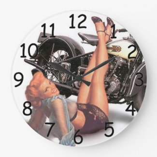 Pin Up Playful Biker Clock