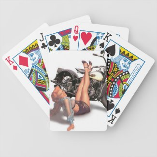 Pin Up Playful Biker Playing Cards