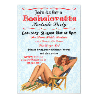 Pin up Pool party Bachelorette Invitations