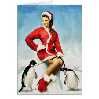 Pin-up Santa painting Card