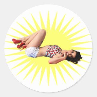 Pin Up Star Classic Round Sticker