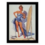 Pin-Up Surfing Girl Vintage poster