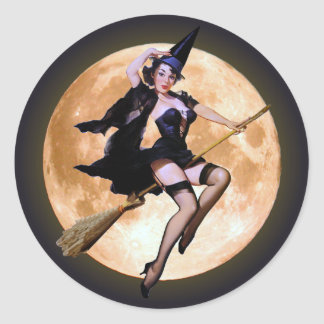 Pin-Up Witch Against a Harvest Moon Classic Round Sticker
