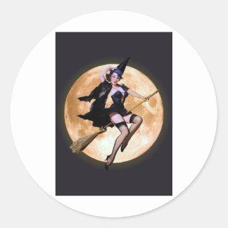 Pin-Up Witch Classic Round Sticker