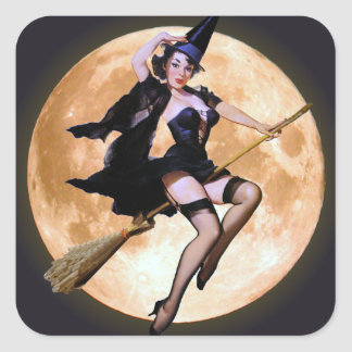 Pin-Up Witch Square Sticker