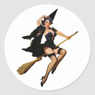 Pin-Up Witch Round Stickers