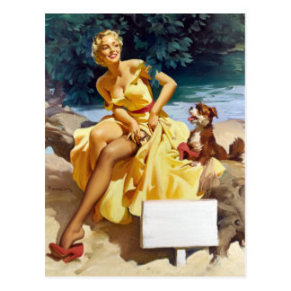 Pin up with Puppy Postcard