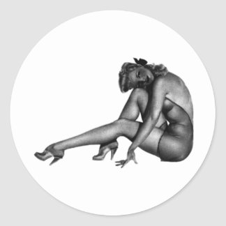 Pin Up Woman Design! Classic Round Sticker