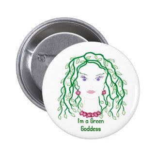 Pin verde de la diosa para apoyar ideales verdes pin redondo 5 cm